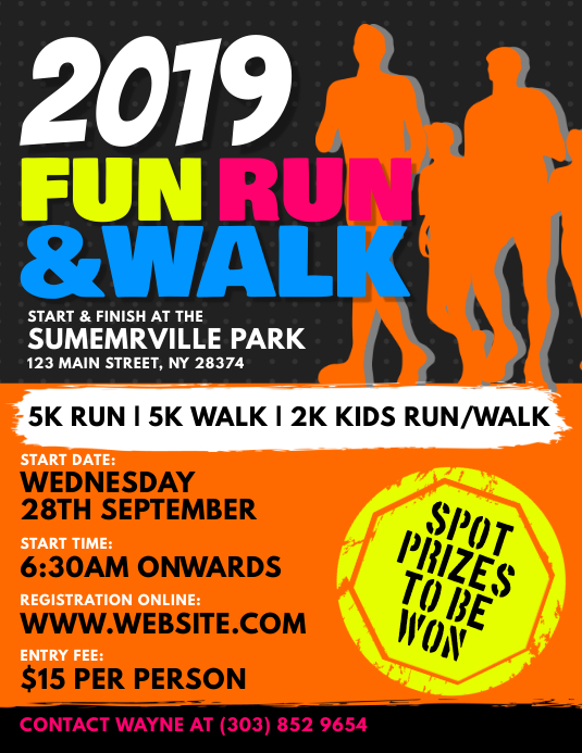 Fun Run U0026 Walk Flyer  Fun Poster Templates
