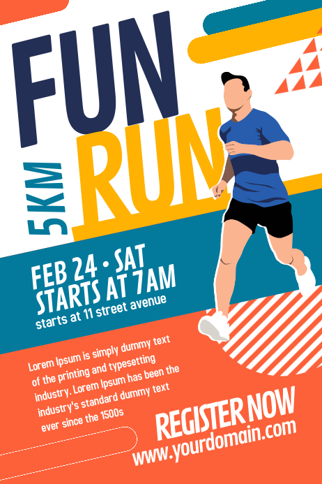 Fun Run Marathon Poster Template Póster