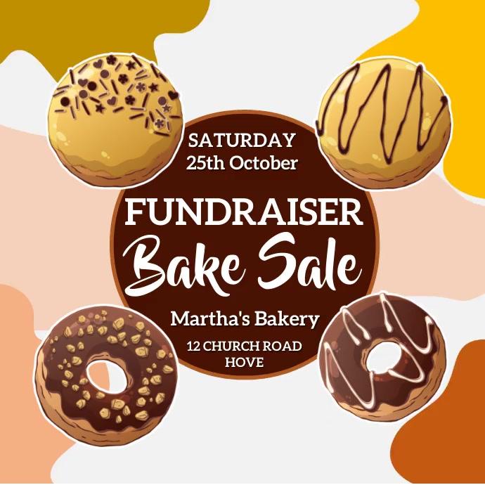 Fundraiser Bake Sale Bakery Video Template 方形(1:1)