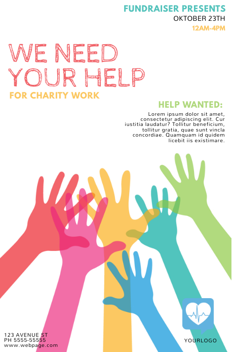 Fundraising Help Flyer Template PosterMyWall - Fundraising brochure template