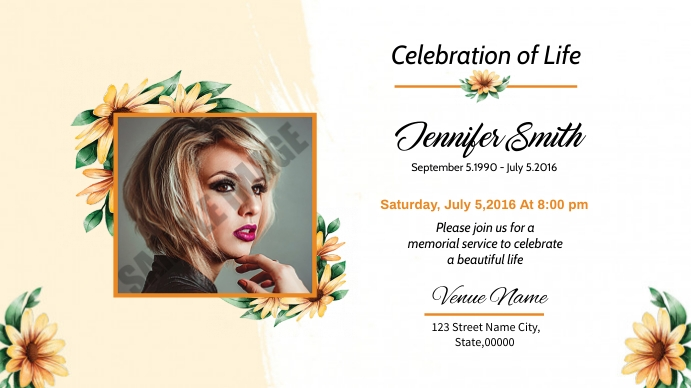 Funeral Announcement and Invitation Digitalanzeige (16:9) template
