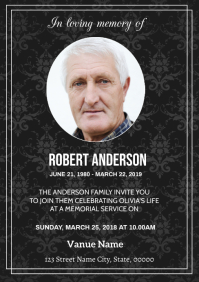 Funeral Announcement Card A5 template