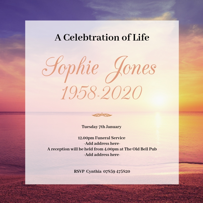 Funeral Announcement Template Postermywall