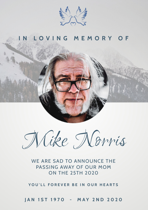 funeral announcement A4 template