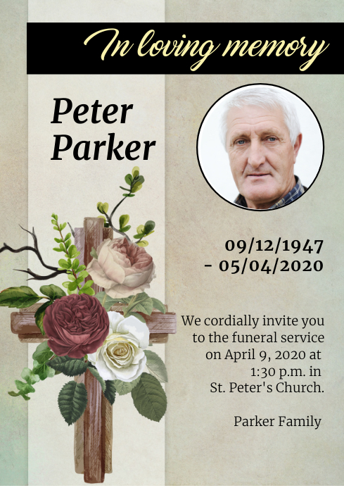 Funeral Card A4 template
