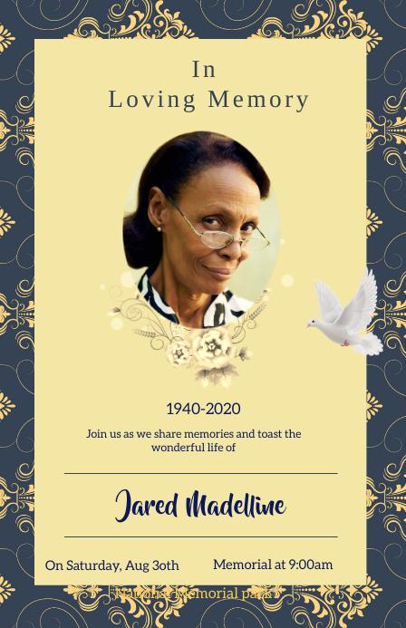 Funeral flyers Tabloïd template