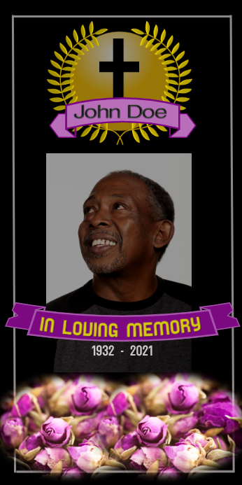 funeral/in loving memory/celebration of life Oprolbanier 3'×6' template