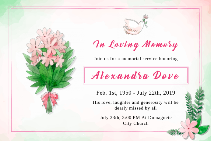 Funeral Loved one Invite Banner Template