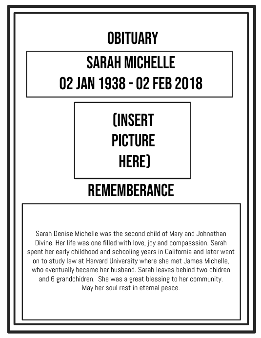 Funeral Obituary Template Postermywall