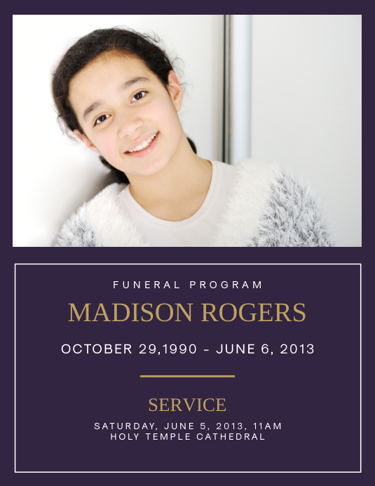Funeral Program Madison Rogers 1 Template Postermywall
