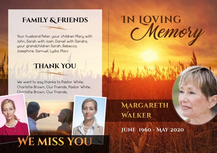 Funeral Program Brochure Sunrise - 1 A4 template
