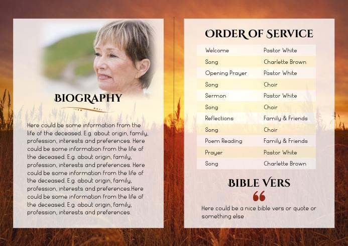 Funeral Program Brochure Sunrise -2 A4 template