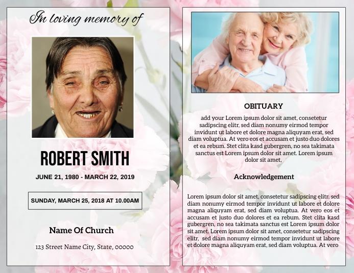 Funeral Program Card Template Ulotka (US Letter)