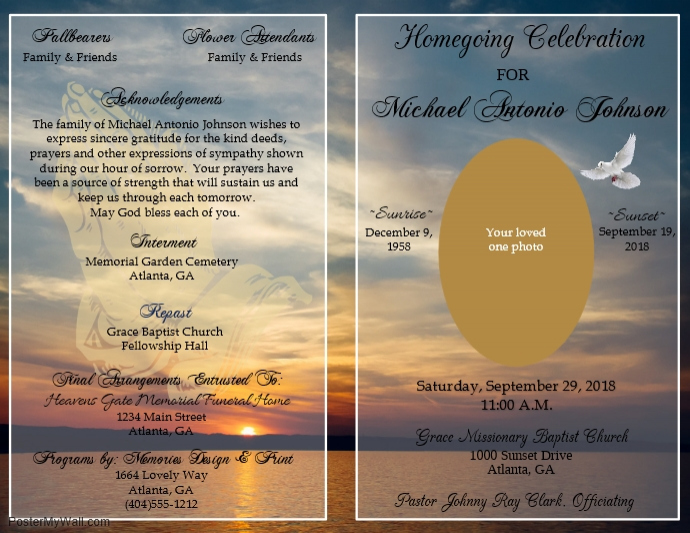 Funeral Program Template Postermywall