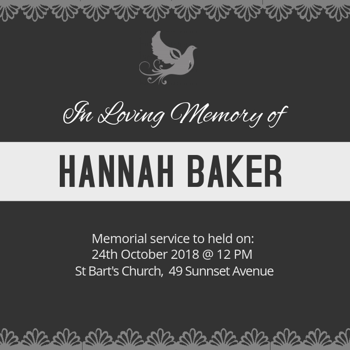 Funeral Square Black and white Invite