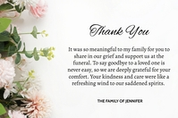 Funeral Thank You Card Etichetta template