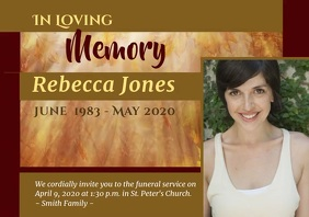 "Funeral Video Card ""Leaves"" A4 template"