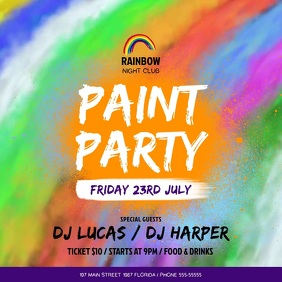 Funky Paint Party Square Video template