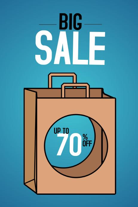 funny big sale portrait poster template - blue