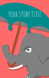 funny elephant with an umbrella story book