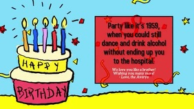 Funny Happy Birthday with Music Tampilan Digital (16:9) template