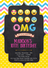 Funny icon birthday party invitation