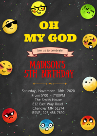 Funny icon birthday party invitation A6 template