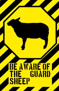 funny sheep sign - humouristic joke with farm animal