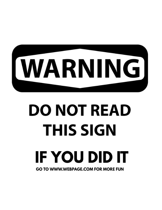 Funny sign template printable