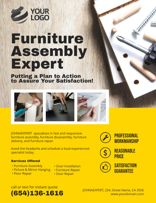 Furniture Assembly Service Flyer Poster Template Postermywall