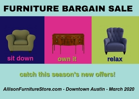 furniture sale/seasonal offers/venta muebles ไปรษณียบัตร template