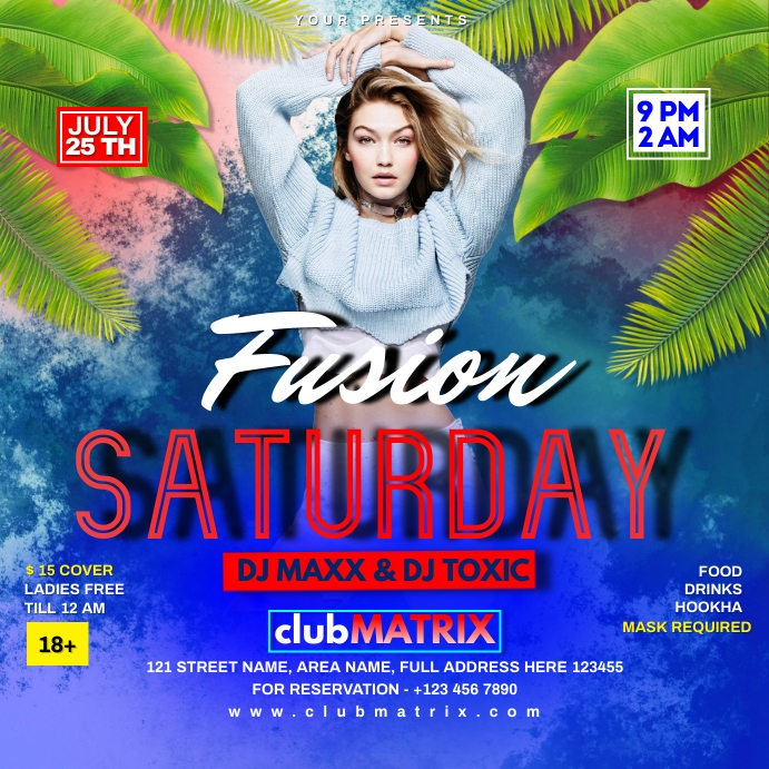 FUSION SATURDAY PARTY NIGHT Instagram 帖子 template