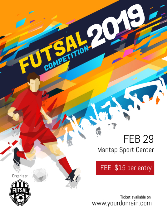 Futsal Football Soccer Tournament Competition Flyer Poster Template
