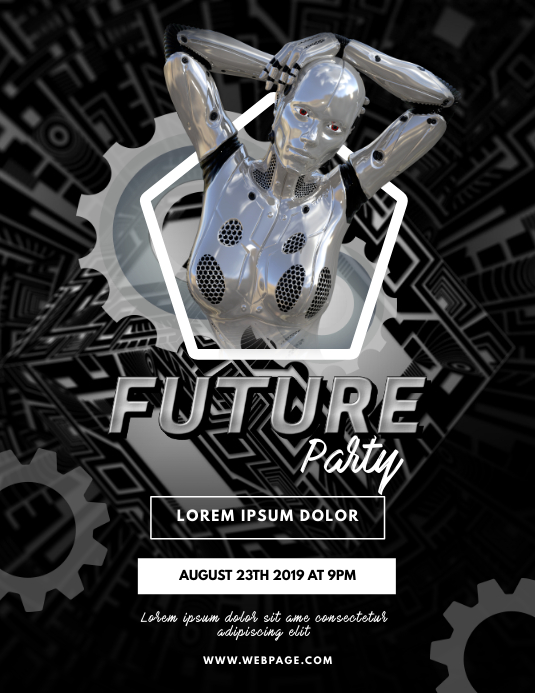 Future Robot Party Flyer Template