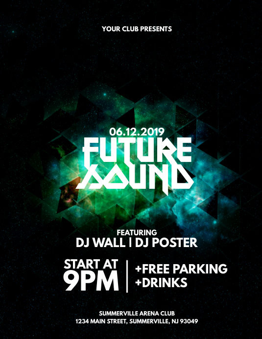 Future Sound Flyer Ulotka (US Letter) template
