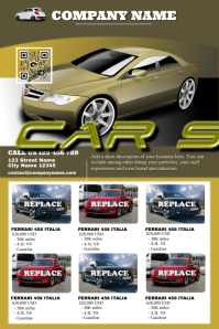 Futuristic cars for sale flyers - Modern car dealership poster