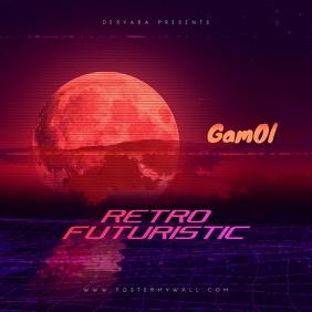 Futuristic Retro 80's CD Cover Art Template Albumcover