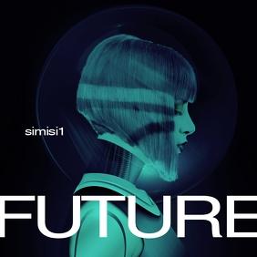 Futuristic Sci-Fi CD Cover Art Template Album Omslag