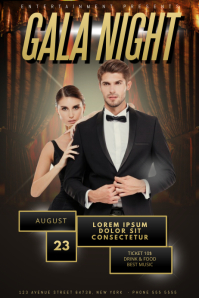 Gala Prom Gold Night Party Flyer Template