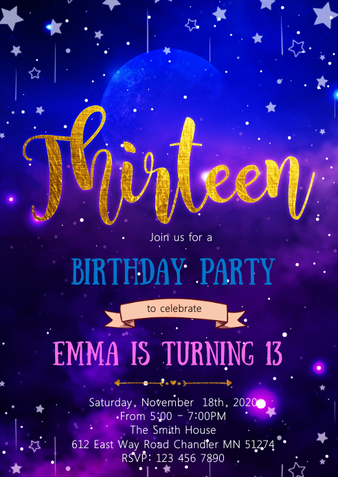 Galaxy 13th birthday invitation