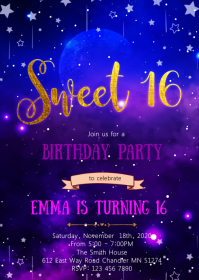 Galaxy 16th birthday invitation