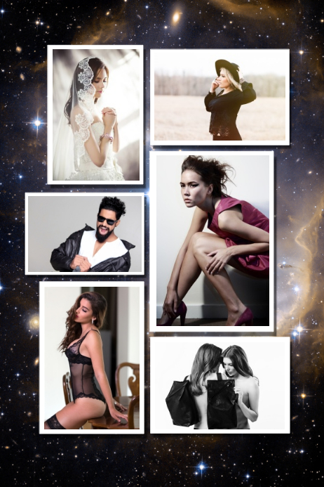 galaxy photographty familt photo collage poster template