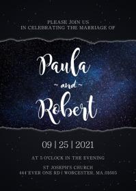Galaxy Wedding Invitation A6 template