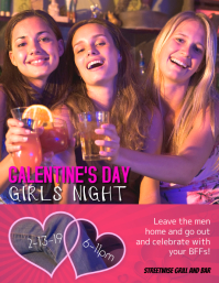 Galentines day girls night out flyer template