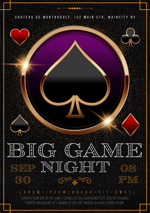 GAMBLING NIGHT POSTER A4 template