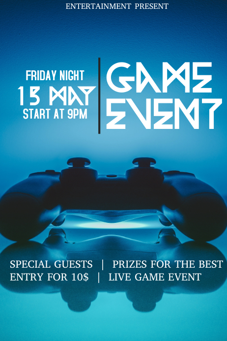 Game event flyer template Póster