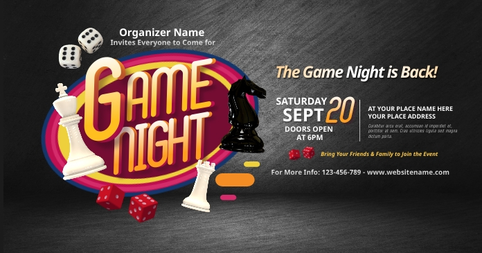 Game Night Facebook Shared Image template