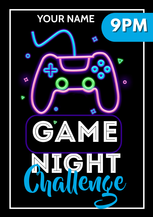 Game night flyers A3 template