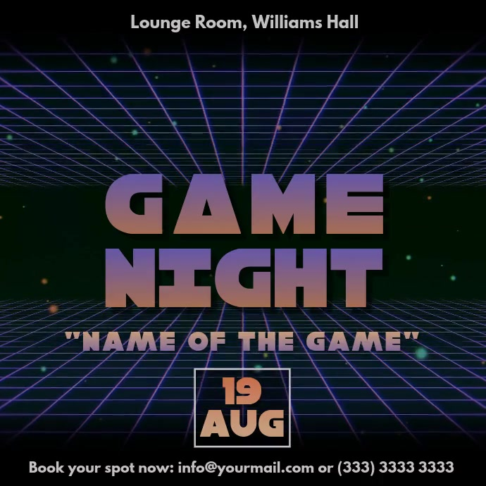 Game Night Vaporwave 80s Retro Video Ad Template Postermywall