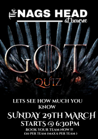 game of thrones quiz A4 template